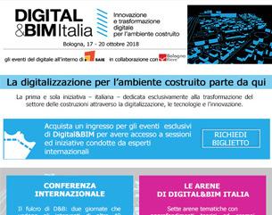 DIGITAL&BIM Italia: la digitalizzazione delle costruzioni. Richiedi il tuo biglietto!
