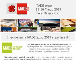 MADE expo 2019, dal 13 al 16 marzo a Milano: l'appuntamento per i professionisti della progettazione