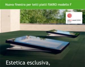 Nuova finestra per tetti piatti FAKRO modello F