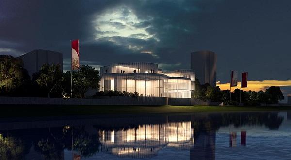 """di notte l'edificio si trasforma in una """"lanterna"""", un polo attrattore visibile da tutto il lungofiume"""