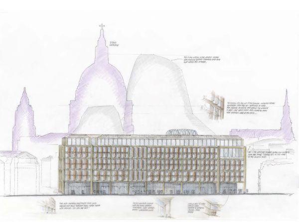 Schizzo del nuovo headquarter Bloomberg a Londra