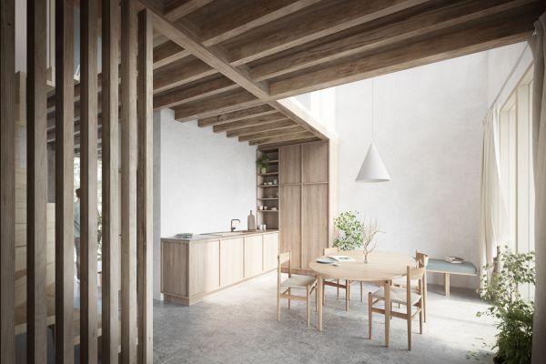 Interno di uno degli alloggi di New Angle in Danimarca