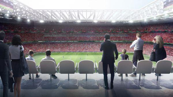 Render dell'interno del nuovo stadio Feyenoord di Rotterdam