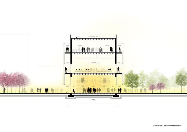 Sezione trasversale del Nuovo Padiglione Didattico del Campus di Modena