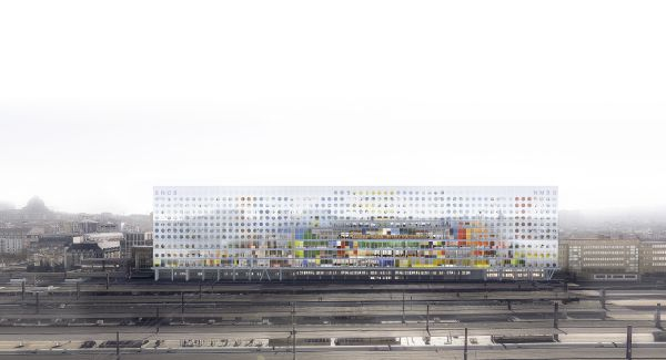 Render della facciata del quartiere generale di Snbc a Bruxelles