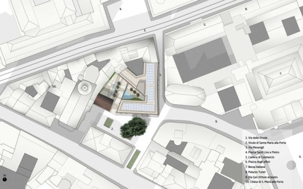 Planimetria generale della zona di Milano in cui si trova l'edificio in via di riqualificazione di via delle Orsole