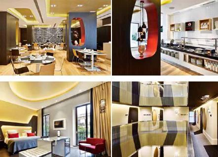 Panoramica del bar, sala da pranzo e corridoi dell' Hotel Vincci Gala di Barcellona, in cui il contrasto tra materiali, texture e colori crea un'atmosfera di lusso e glamour; immagini di Jose Hevia per DuPont™ Corian®, tutti i diritti riservati.