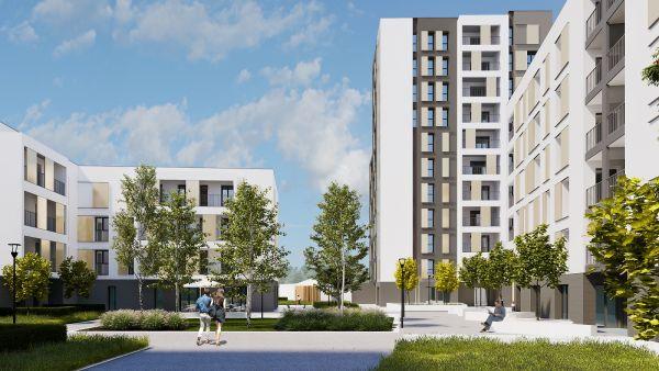 Rendering progetto del nuovo complesso residenziale in social housing a Merezzate, Milano