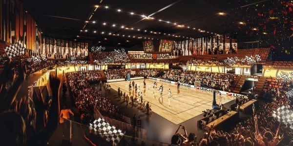 Render dell'interno dell'impianto di basket della cittadella dello sport di Tortona