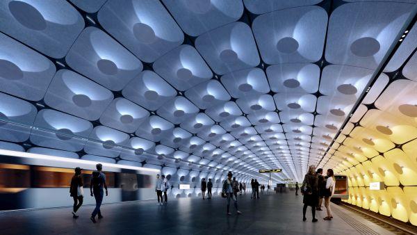 Oslo: L'interno della stazione metro di Fornebuporten (credit ZHA)