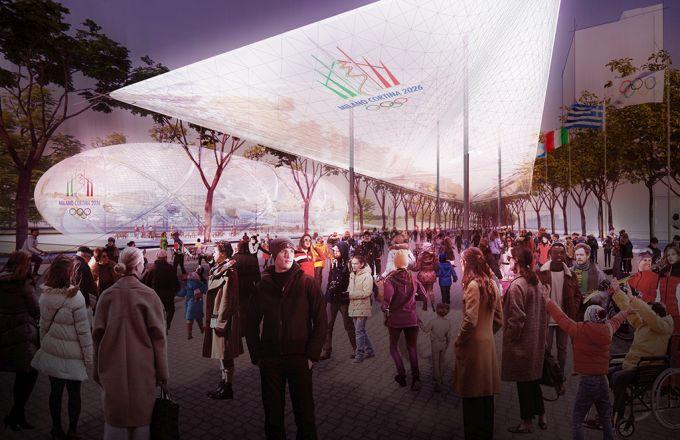Scalo Porta Romana: La piazza del Villaggio olimpico