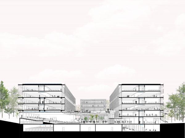 Sezione prospettica dell'L'Ecole d'Architecture de Nanterre