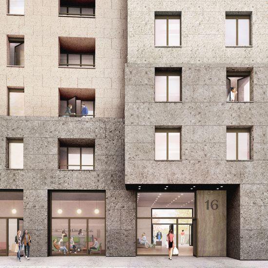 Render della facciata della nuova residenza universitaria di Milano (Calzoni Architetti)