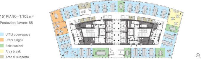 Gli uffici del quindicesimo piano della torre di Libeskind a Milano