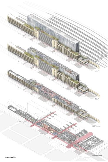 Assonometria dei diversi piani del quartiere generale Snbc a Bruxelles