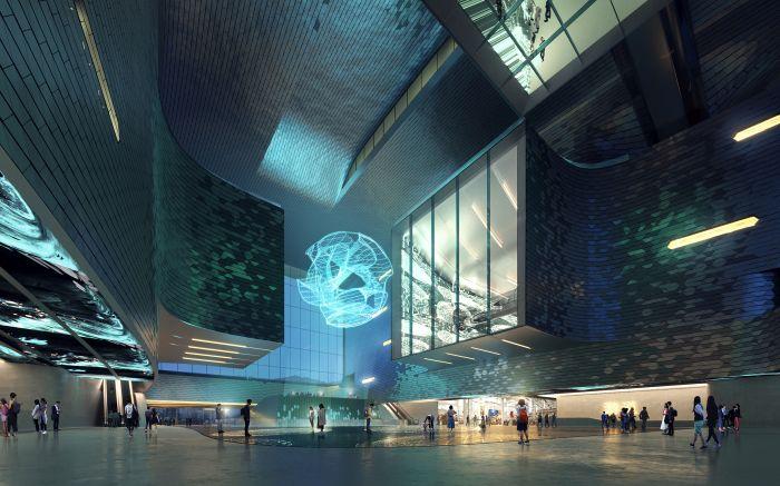 La hall di ingresso del museo della scienza di Shenzhen