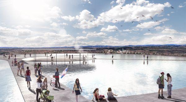 Render della zona esterna con lo spcchio d'acqua della Cittadella dello sport di Tortona