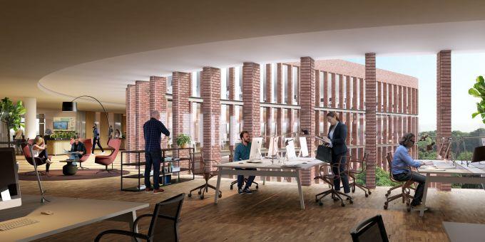 Render di un interno dei nuovi uffici Kvarter 15 a Stoccolma