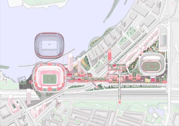 Planimetria del nuovo quartiere intorno allo stadio Feyenoord a Rotterdam