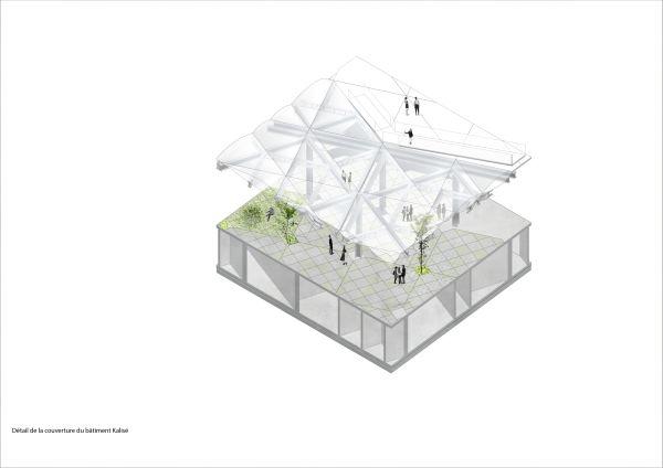 Ecole d'Architecture de Nanterre:  Spaccato della copertura dell'edificio esistente