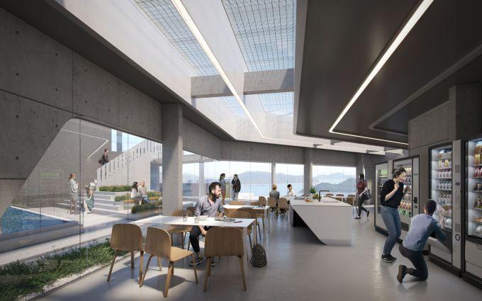 Spazi comuni lungo la passeggiata sul tetto del nuovo studentato alla Hong Kong University of Science and Technology
