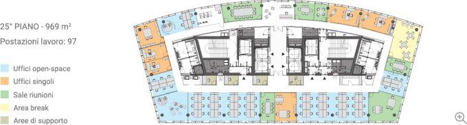 Gli uffici del 25° piano della torre di Libeskind a Milano
