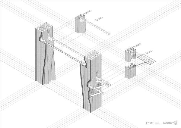 Dettagli di progetto di muratura del muro portante realizzato in stampa 3D (Wasp-Iaac)