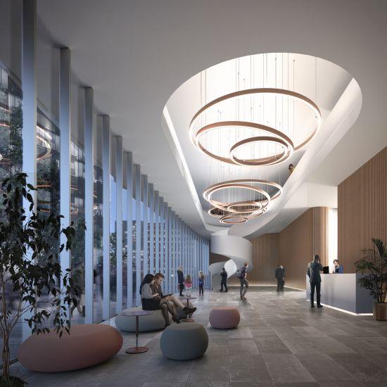 Un interno del Met a Tirana (render, ©Mario Cucinella Architects)