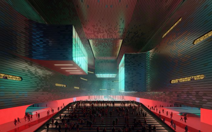 Uno degli spazi interni del Shenzhen Science & Technology Museum