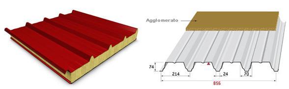A sinistra: pannello metallico coibentato per coperture © RW Panel spa A destra: sistema integrato per solai a secco © ArcelorMittal