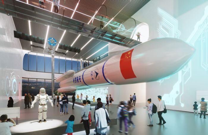 Una delle gallerie del nuovo museo della scienza di Shenzhen