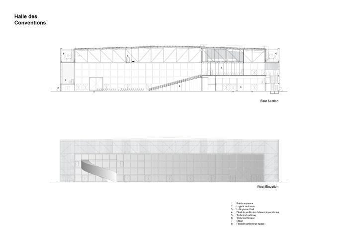 Sezione e prospetto della sala convegni del Meett di Tolosa
