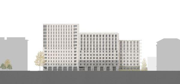 Il prospetto est della residenza universitaria di Milano (Calzoni Architetti)