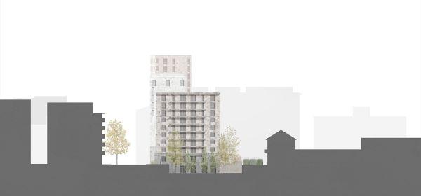 Il prospetto nord della residenza universitaria di Milano (Calzoni Architetti)