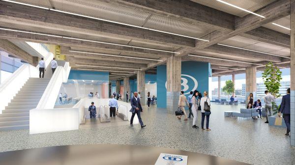 Render degli interni della nuova stazione di Bruxelles