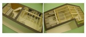 Immagini di modellini di studio in cartoncino vegetale e legno (archivio lavori studio +d3).