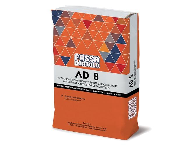 Adesivo monocomponente AD 8 di Fassa per incollare piastrelle in ceramica, mosaico ceramico, klinker, gres