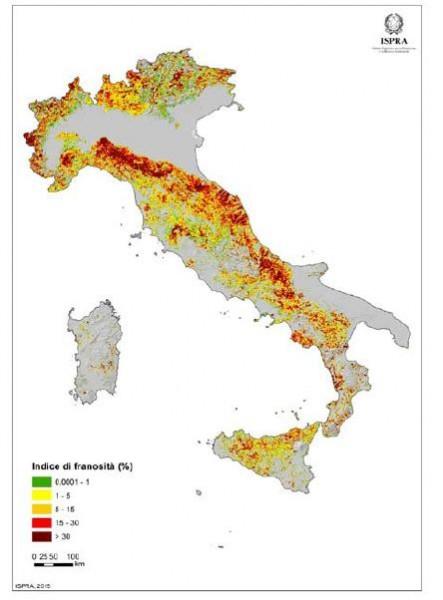 Densità di frane (area in frana/area cella) su maglia di lato 1 km