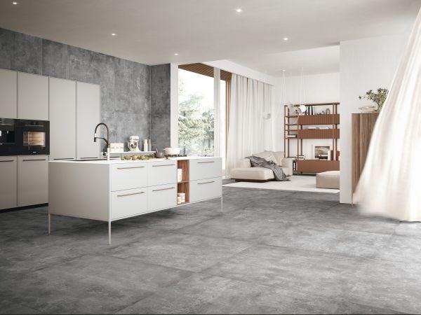 La collezione in gres Urbex Style di ceramiche Refin, nel colore Grey