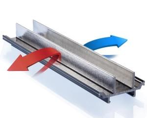 insulbar LEF: il profilo termoisolante utilizza una pellicola Low-E, che riflette l'irraggiamento termico, ottenendo in questo modo un taglio termico ottimale dei gusci esterni ed interni di intelaiature metalliche di finestre, porte e facciate.