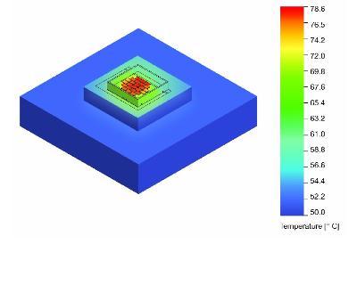 Figura 1: Simulazione termica per un dispositivo Duris S10 CAS su di una piastra calda