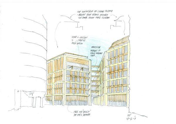 Schizzo del progetto del nuovo headquarter Bloomberg di Londra
