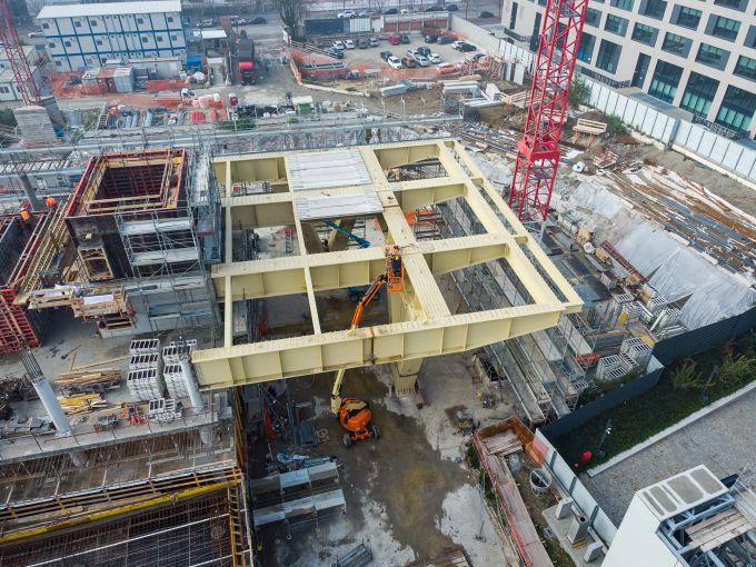 Building D di Covivio: La struttura metallica posata