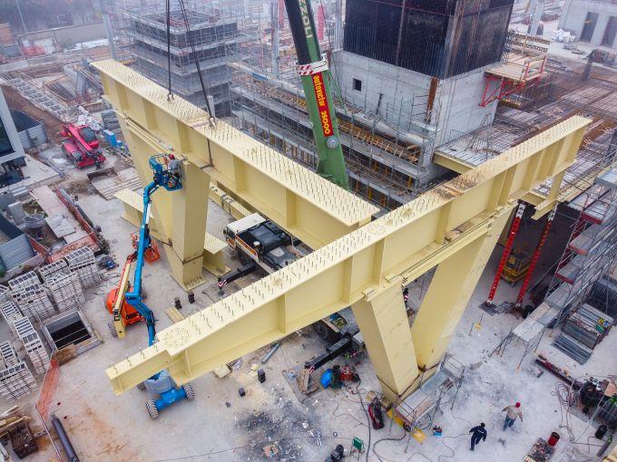 Building D di Covivio: La struttura metallica pronta per l'imbollonatura