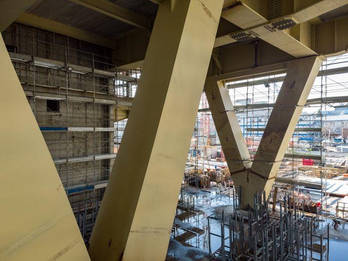 Building D di Covivio: Le grandi travi metalliche a V