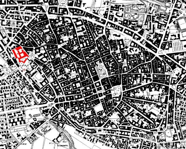 Pianta della città di Cremona con localizzazione della nuova sede universitaria