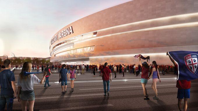 Render del nuovo stadio del Cagliari Calcio
