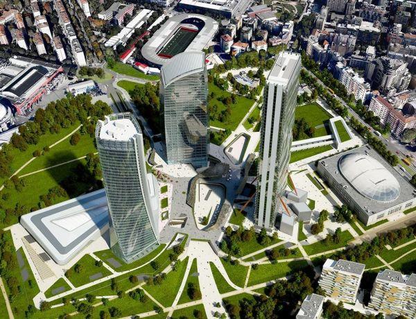 Immagine del progetto concluso delle tre torri di City Life