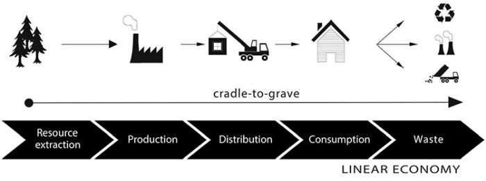 Modello economico di tipo lineare cradle-to-grave