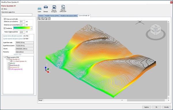 Curve di livello 3D con gradiente